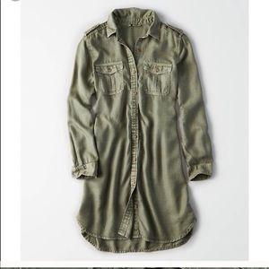 American Eagle | Button Down Army Green Dress